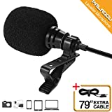 Lavalier Lapel Microphone 3.5mm Mic Pro Best for iPhone Android Smartphones Recording/Youtube/Podcast/Voice Dictation/Video Conference/Studio/Interview/External Condenser Cell Phone