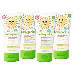 Babyganics Baby Sunscreen Lotion, SPF 50, 2oz Tube (Pack of 4)