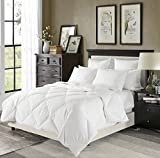 downluxe Lightweight Down Comforter(King,White)-Summer Weight Down Duvet Inserts,230 Thread Count 550+ Fill Power,100% Cotton Shell Down Proof with Tabs