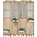 MyGift Rustic Wood and Galvanized Metal 4-Panel Room Divider with 4 Planter Boxes