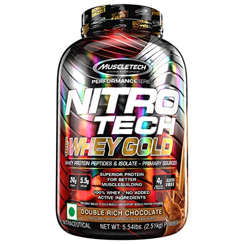 Muscletech Performance Series Nitrotech Whey Gold (Whey Protein Peptides & Isolate, 24g Protein, 5.5g BCAAs, 4g Glutamine, Gluten-Free, Post-Workout) – 5.54lbs, 2.51kg (Double Rich Chocolate)