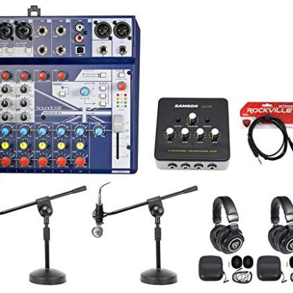2-Person-Podcasting-Podcast-Bundle-wSoundcraft-MixerHeadphonesMicBoom-Stand
