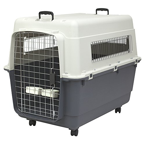 SportPet Designs Plastic Kennels Rolling Plastic Wire Door Travel Dog Crate-2XL