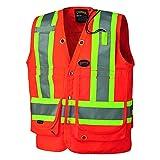 Pioneer V1010350U Hi-Vis Surveyor's Safety Vest - Orange (Medium)