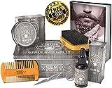 Viking Revolution Beard Care Kit for Men - Ultimate Beard Grooming Kit includes 100% Boar Men's Beard Brush, Wooden Beard Comb, Beard Balm, Beard Oil, Beard & Mustache Scissors in a Metal Gift Box