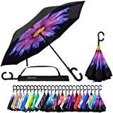 Reverse Inverted Inside Out Umbrella - Upside Down UV Sun Protection Windproof Brella That Open Better Than Most Umbrellas, Reversible Folding Double Layer, Suitable for Golf, Car, Women and Men