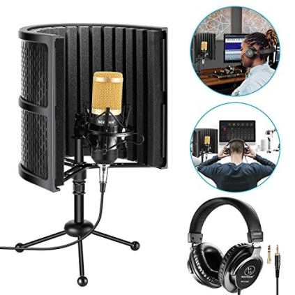 Neewer-Tabletop-Microphone-Isolation-Shield-with-Absorbing-Foam-Conderser-Microphone-Shock-Mount-Tripod-Stand-and-Studio-Monitor-Headphones-for-Sound-Recording-Podcasts-Singing-Broadcasting-etc
