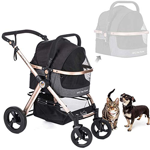 HPZ Pet Rover Prime 3-in-1 Luxury Dog/Cat/Pet Stroller (Travel Carrier + Car Seat +Stroller) with Detach Carrier/Pump-Free Rubber Tires/Aluminum Frame/Reversible Handle for Medium & Small Pets 1