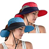 Women's Ponytail Safari Sun Hat, UPF 50+ Wide Brim UV Protection Outdoor Bucket Hat, Foldable Beach Summer Fishing Hat