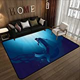 Durable Rubber Floor Mat,Mermaid Decor,Mermaid in Deep Water Swimming Up to The Surface Sunlight Rays,Blue 63'x 94' Non-Slip Modern Carpet
