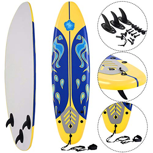 Giantex Surfboard Surfing Surf Beach Ocean Body Foamie Board with Removable Fins, Great Beginner Board for Kids, Adults and Children