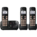 Panasonic KX-TG4733B DECT 6.0 Cordless Phone with Answering System, Black, 3 Handsets