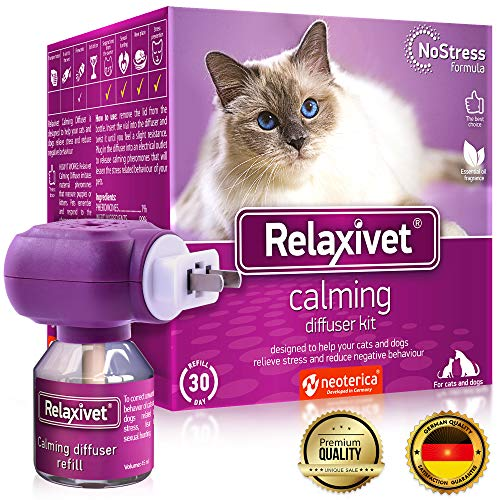 Relaxivet Natural Cat Calming Pheromone Diffuser - Improved No-Stress Formula - Anti-Anxiety Treatment #1 for Cats and Dogs with a Long-Lasting Calming Effect