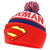 Armycrew Superman 3D Logo Embroidered Reflective Winter Pom Cuff Beanie - Navy Red