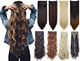 7Pcs 16 Clips 23-24 Inch Thick Curly Straight Full Head Clip in on Double Weft Hair Extensions