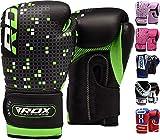 RDX Maya Hide Leather 4oz Kids Boxing Gloves Junior Punch Bag Children MMA Training Youth Muay Thai Mitts,Green