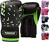 RDX Maya Hide Leather 4oz 6oz Kids Boxing Gloves Junior Punch Bag Children MMA Training Youth Muay Thai Mitts, 6oz, Green