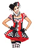 Leg Avenue Women's 3PC.Harlequin Clown, black/Red, Large