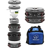 Bulin Camping Cookware Mess Kit, Nonstick Backpacking Cooking Set, Outdoor Cook Gear for Family Hiking, Picnic| Lightweight Cookware Sets(Kettle, Pots, Frying Pan, BPA-Free Bowls, Plates, Spoon)