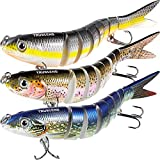 TRUSCEND Fishing Bass Lures Multi Jointed Topwater Life-Like Trout Swimbait Hard CrankBaits (S-8-Combo-S)
