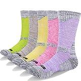 YUEDGE 5 Packs Women's Antiskid Wicking Outdoor Multi Performance Hiking Cushion Socks, Assortment 5Pack Pink/Red/Green/Yellow/Purple, Women Shoe 7-10.5 US Size