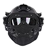 HYOUT Fast Tactical Helmet Combined with Full Mask and Goggles for Airsoft Paintball CS (BK)