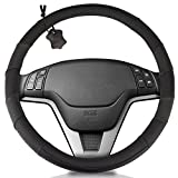Genuine Soft Black Leather Steering Wheel Cover: Universal fits 15 Inch Size, Anti-Slip, Elegant, Excellent Grip, and Easy Install Wheel Wrap