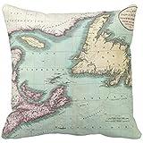 GOEUME Throw Pillow Covers Nova Scotia and Newfoundland Map 20x20 Inch/50cmx50cm