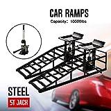 Aebitsry Pair Hydraulic Vehicle Car Ramps 10,000lbs Capacity Portable for Car Repair
