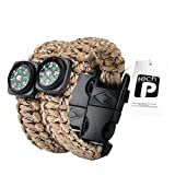 TECH-P Survival Gear Paracord Bracelet Compass Fire Starter Scraper Whistle Gear Kits- 2 Pack (Desert Camouflage, 9' Kids)