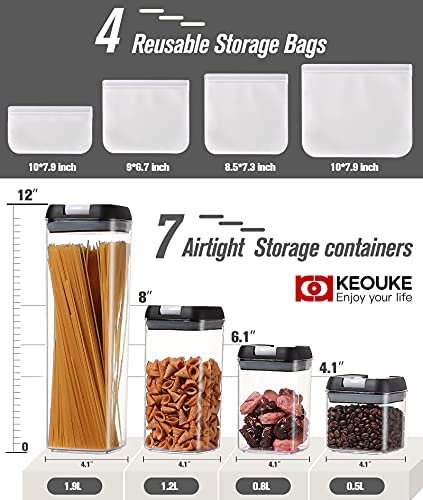 KEOUKE Airtight Food Storage Containers Set-7 PC Kitchen & Pantry Organization Containers + 4 PC Storage Bags BPA Free Plastic Cereal Containers with Labels