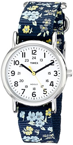Timex Women's T2P370 Weekender Blue Floral Nylon Slip-Thru Strap Watch
