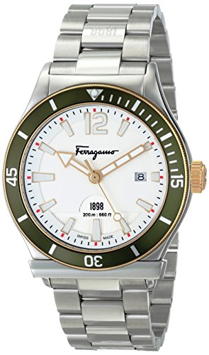 51e4FVAJh7L Swiss Made Round Quartz watch featuring white dial with luminous hands/markers, date window at 3 o'clock,and green aluminum unidirectional bezel 43 mm stainless steel case with anti-reflective sapphire dial window