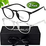 FEIYOLD Blue Light Blocking Glasses Women/Men for Computer Use,FDA Approved Anti Eyestrain Gaming Glasses,Cut UV400 Transparent Lens(2Pack)