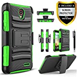ZTE Sonata Case, Combo Shell Cover Kickstand with Built-in Holster Locking Belt Clip+Circle(TM)Touch Screen Pen And Screen Protector-Black (Green)