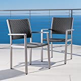 GDFStudio 300361 Coral Bay Outdoor Wicker Dining Chairs w/Aluminum Frame (Set of 2), Grey