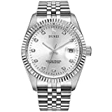 BUREI Mens Luxury Automatic Watch Two Tones Stainless Steel Dress Wrist Watches Self-Winding (Siver)