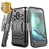 NageBee Moto G4 Play Case with [Tempered Glass Screen Protector], [Heavy Duty] Armor Shock Proof Dual Layer [Swivel Belt Clip] Holster [Kickstand] Combo Rugged Case for Moto G Play 4th Gen - Black