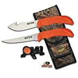 Outdoor Edge Wild Bone, WB-4C, 2 Knife Hunting Set - Gut Hook Skinning knife, Boning/Fillet Knife, Sharpener, Mossy Oak Sheath