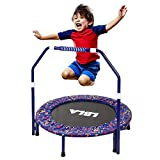 Kids Trampoline with Adjustable Handrail and Safety Padded Cover Mini Foldable Bungee Rebounder