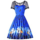 Product review of Girls Vintage Halloween Clearance Party Dress Pumpkin Print Evening Retro Dress Lace Short Sleeve Spliced Bat By Charberry