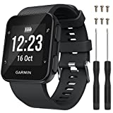 QGHXO Band for Garmin Forerunner 35, Soft Silicone Replacement Watch Band Strap for Garmin Forerunner 35 Smart Watch, Fit 5.11'-9.05' (130mm-230mm) Wrist (Black)