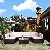 U-MAX 7 Pieces Patio PE Rattan Wicker Sofa Set Outdoor Sectional Furniture Conversation Chair Set with...