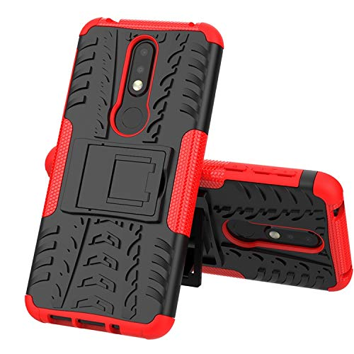 Soezit Military Graded Heavy Kickstand Back Phone case Rugged Shock Proof Anti-Wrestling Travel Essential Phone Accessories for Nokia 7.1 (Red) 3