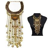 SUMAJU Statement Necklace, Beads Coin Fringe Statement Necklace Gold Tone Bohemian Ethnic Tribal Boho