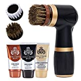 Electric Shoe Polisher Kit (10pcs) - Quick & Easy Shine, Portable Handheld Machine for Leather Shoes Polish and Care, 6 Brushes, Black & Brown Shoe Cream, Leather Conditioner Set, for Home and Office