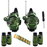 Vastaint Walkie Talkies for Kids, Two-Way Long Range Watch Radio Transceiver with Binoculars for Children Cool Outdoor Activity Toys Gifts for Girls & Boys, 2 Pack