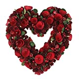 "Northlight 13.5"" Rose, Pine Cone and Cherry Heart Shaped Valentine's Day Wreath - Unlit"