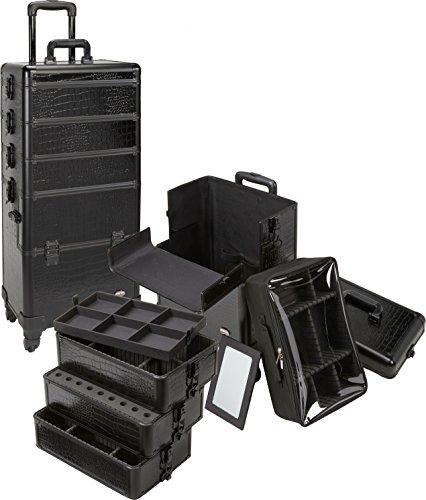 Seya 4 in 1 Rolling Makeup Cosmetic Case w/ 4 Wheels and Adjustable Dividers - Black Gator & Black Trim