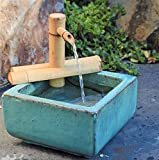 Bamboo Accents Zen Garden Water Fountain Spout, Indoor/Outdoor, Adjustable 7-Inch Half-Round Flat Base, Smooth Split-Resistant Bamboo
